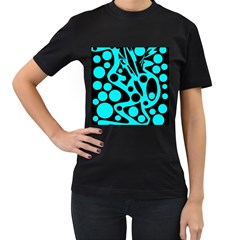 Cyan and black abstract decor Women s T-Shirt (Black)