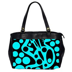 Cyan and black abstract decor Office Handbags (2 Sides)