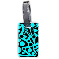Cyan and black abstract decor Luggage Tags (One Side)