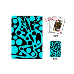 Cyan and black abstract decor Playing Cards (Mini)