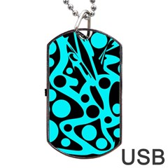 Cyan and black abstract decor Dog Tag USB Flash (Two Sides)