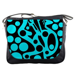 Cyan and black abstract decor Messenger Bags