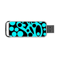 Cyan and black abstract decor Portable USB Flash (One Side)