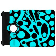 Cyan and black abstract decor Kindle Fire HD Flip 360 Case