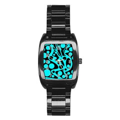 Cyan and black abstract decor Stainless Steel Barrel Watch