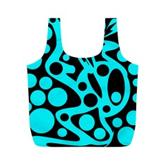 Cyan and black abstract decor Full Print Recycle Bags (M)