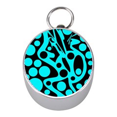 Cyan and black abstract decor Mini Silver Compasses