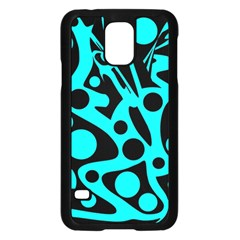 Cyan and black abstract decor Samsung Galaxy S5 Case (Black)