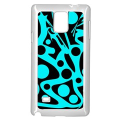 Cyan and black abstract decor Samsung Galaxy Note 4 Case (White)