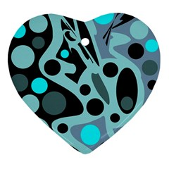 Cyan blue abstract art Ornament (Heart)