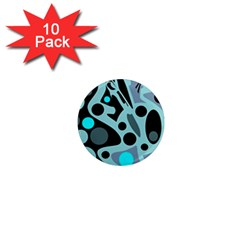 Cyan blue abstract art 1  Mini Magnet (10 pack)