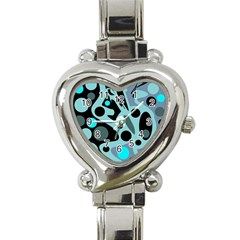 Cyan blue abstract art Heart Italian Charm Watch