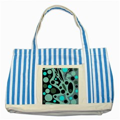 Cyan blue abstract art Striped Blue Tote Bag