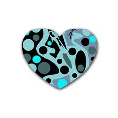 Cyan blue abstract art Rubber Coaster (Heart)