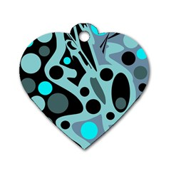 Cyan blue abstract art Dog Tag Heart (Two Sides)