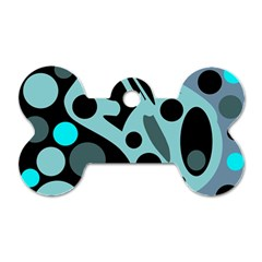Cyan blue abstract art Dog Tag Bone (Two Sides)