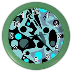 Cyan blue abstract art Color Wall Clocks