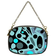 Cyan blue abstract art Chain Purses (One Side)