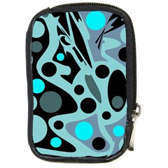 Cyan blue abstract art Compact Camera Cases