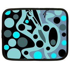 Cyan blue abstract art Netbook Case (XL)
