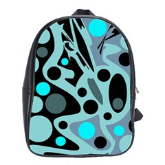 Cyan blue abstract art School Bags(Large)