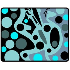 Cyan blue abstract art Fleece Blanket (Medium)