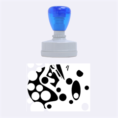 Cyan blue abstract art Rubber Oval Stamps