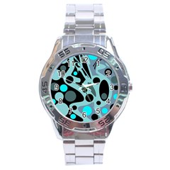 Cyan blue abstract art Stainless Steel Analogue Watch