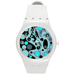 Cyan blue abstract art Round Plastic Sport Watch (M)