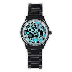 Cyan blue abstract art Stainless Steel Round Watch