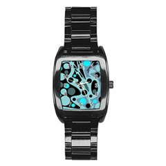 Cyan blue abstract art Stainless Steel Barrel Watch