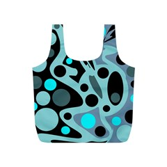 Cyan blue abstract art Full Print Recycle Bags (S)