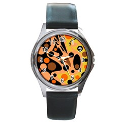 Orange abstract decor Round Metal Watch
