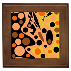 Orange abstract decor Framed Tiles