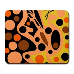 Orange abstract decor Large Mousepads