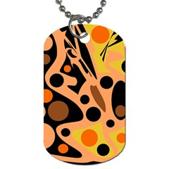 Orange abstract decor Dog Tag (One Side)