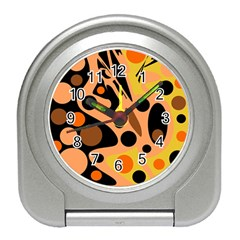 Orange abstract decor Travel Alarm Clocks