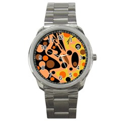Orange abstract decor Sport Metal Watch