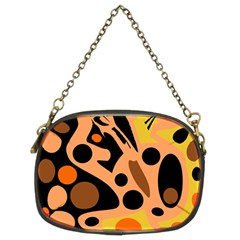 Orange abstract decor Chain Purses (Two Sides)