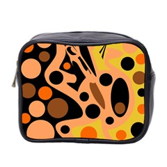 Orange abstract decor Mini Toiletries Bag 2-Side