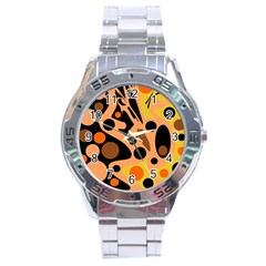 Orange abstract decor Stainless Steel Analogue Watch