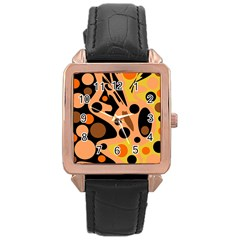 Orange abstract decor Rose Gold Leather Watch