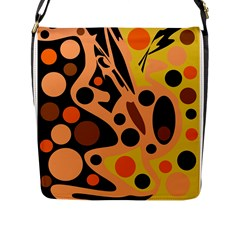 Orange abstract decor Flap Messenger Bag (L)