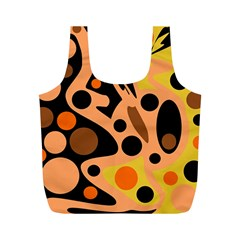 Orange abstract decor Full Print Recycle Bags (M)