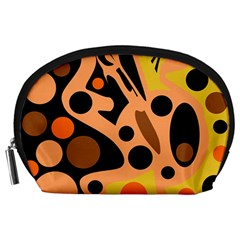Orange abstract decor Accessory Pouches (Large)
