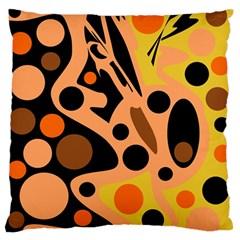 Orange Abstract Decor Large Flano Cushion Case (one Side)
