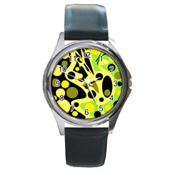 Green abstract art Round Metal Watch