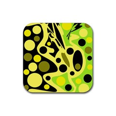 Green abstract art Rubber Square Coaster (4 pack)