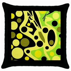 Green abstract art Throw Pillow Case (Black)