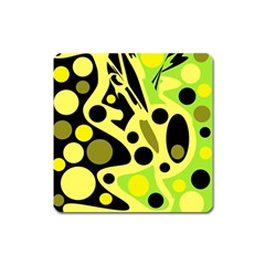 Green abstract art Square Magnet